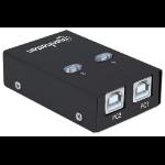 Manhattan USB-A Automatic Sharing Switch, 2x USB-B Ports, 480 Mbps (USB 2.0), Dual Control (Auto-Sensing or Manual), Bus Powered, inc 1x 1.5m USB-A to USB-B cable, Black, Blister