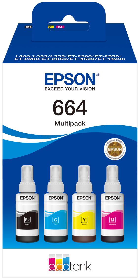 Epson C13T664640 (664) Ink cartridge multi pack, 70ml, Pack qty 4
