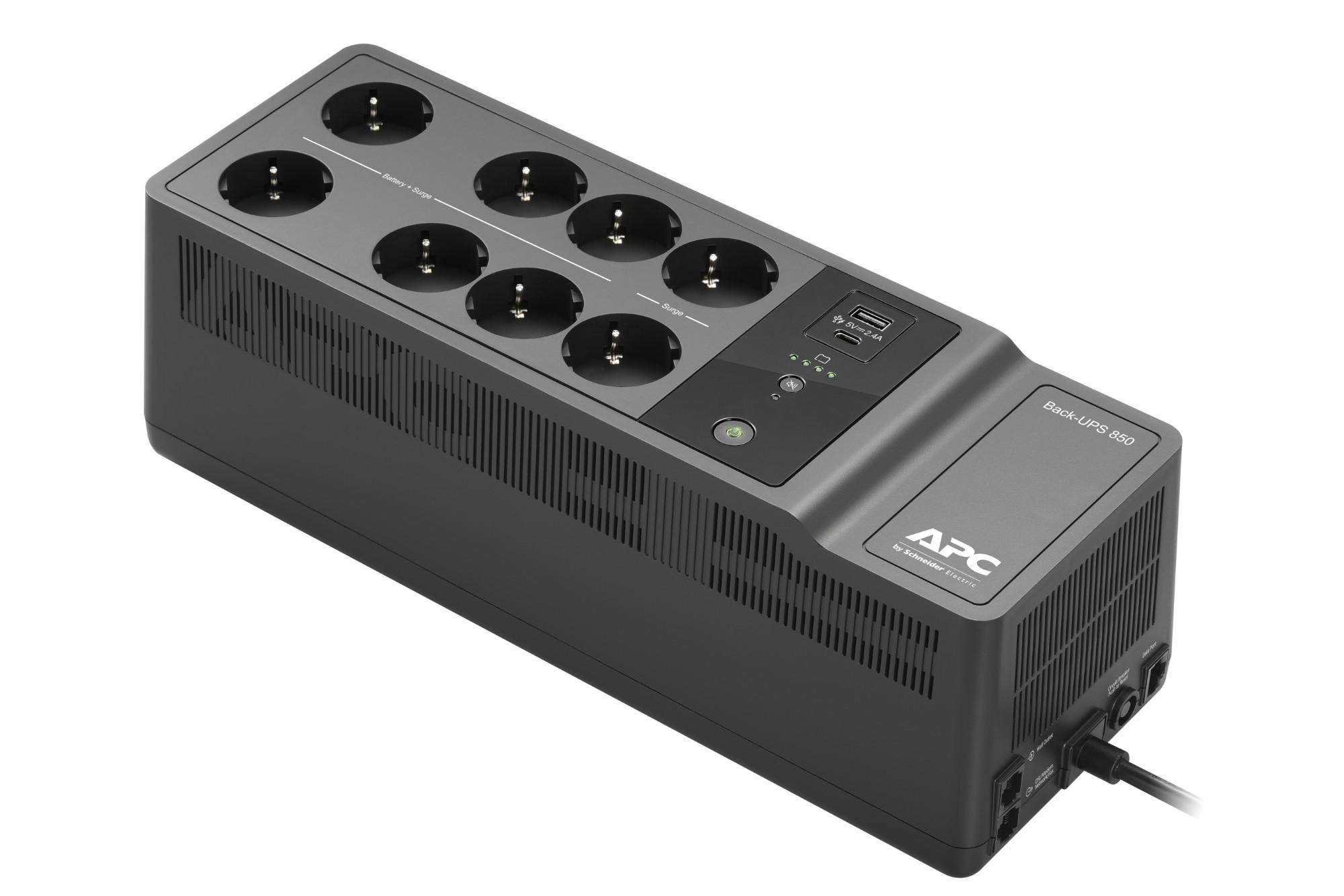 APC BE850G2-GR sistema de alimentación ininterrumpida (UPS) En espera (Fuera de línea) o Standby (Offline) 850 VA 520 W 8 salidas AC