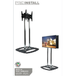 "B-Tech BT8552-150 50"" Fixed flat panel floor stand Black,Chrome"
