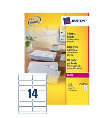 Avery L7163-250 addressing label White Self-adhesive label