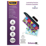 FELLOWES LAMINATING POUCH A4 80 MICRON GLOSS PACK 25