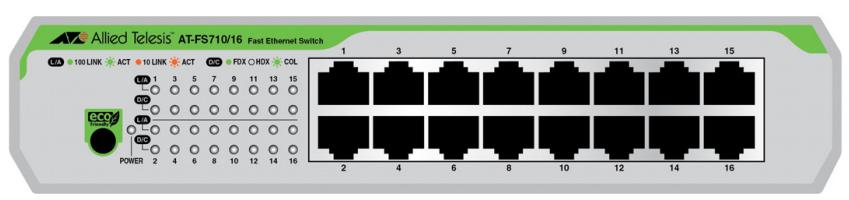 Allied Telesis AT-FS710/16-50 No administrado Fast Ethernet (10/100) Verde, Gris 1U