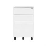 Jemini White Mobile Steel 3 Drawer Pedestal