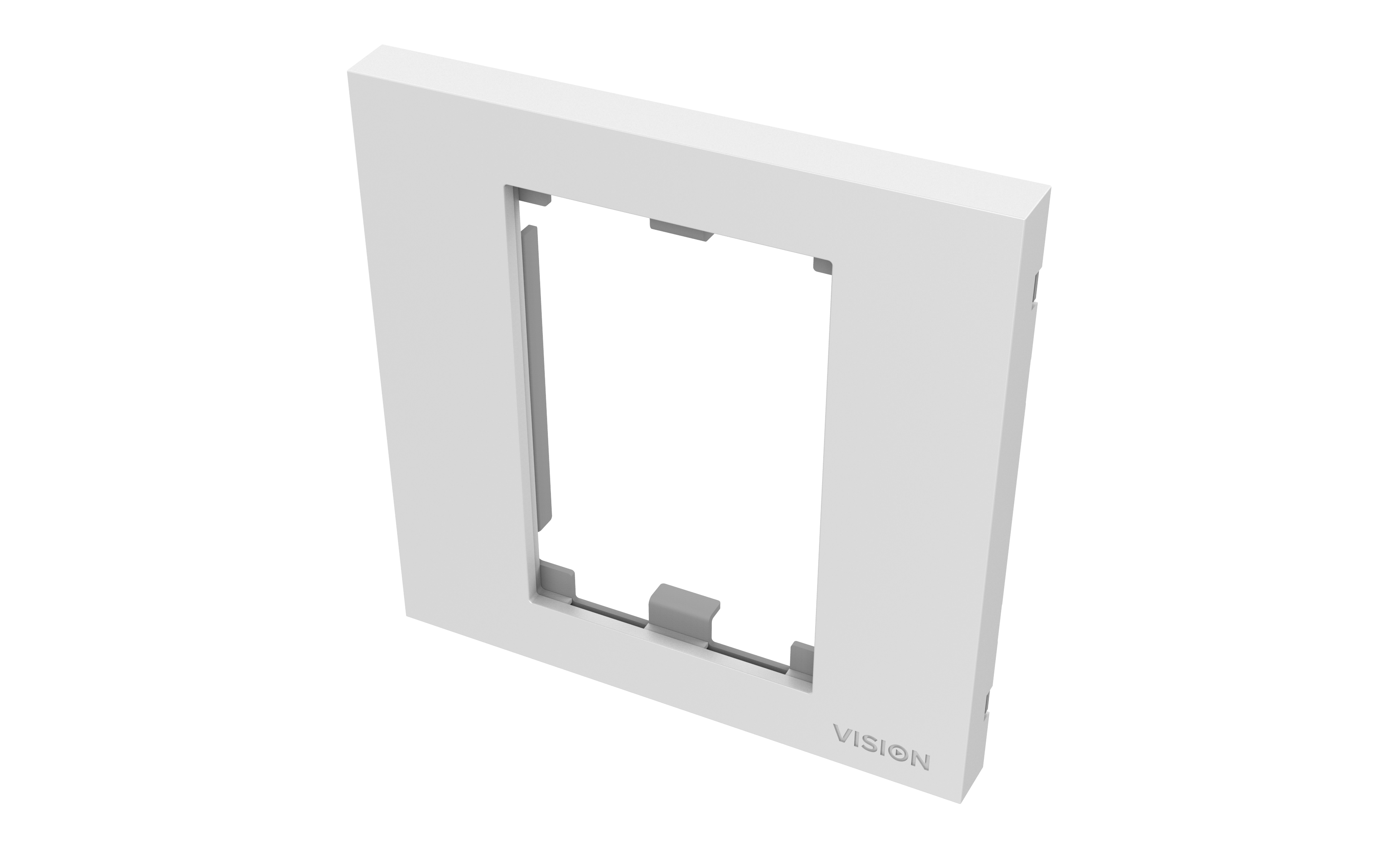 Vision TECHCONNECT V3 SINGLE-GANG UK SURROUNDWHITE Single-gang frame which accommodates two modules. Fits t