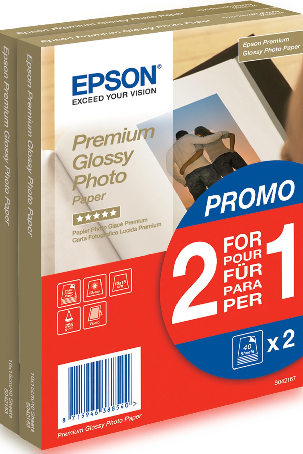 Epson Premium Glossy Photo Paper - 10x15cm - 2x 40 Sheets