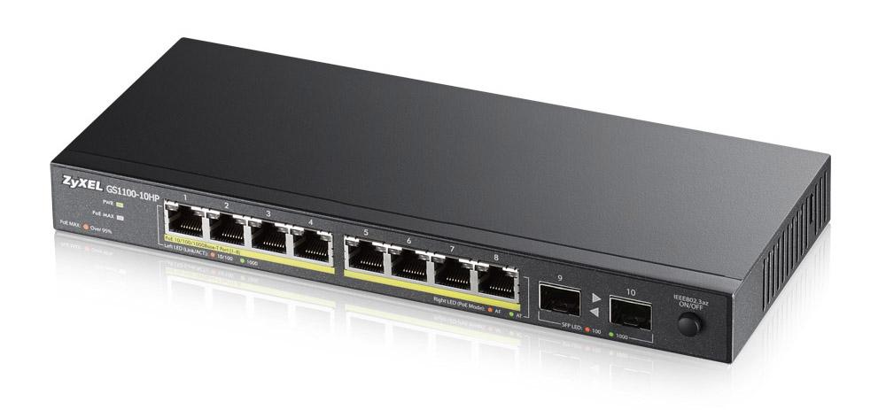 Zyxel GS1100-10HP Unmanaged Gigabit Ethernet (10/100/1000) Power over Ethernet (PoE) 1U Black