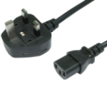 Custompc.ie 1.8 Metre PC Power Cable with 5amp Fuse and Moulded 3 Pin UK/IRISH Plug