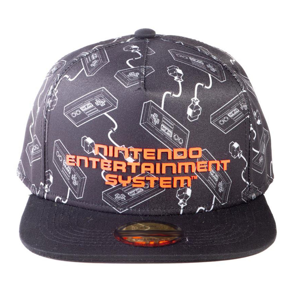 Nintendo NES Controllers All-Over Print with Logo Snapback Baseball Cap, Unisex, Black (SB702858NTN)