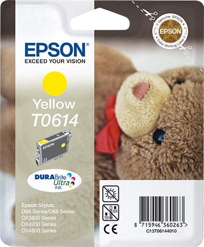 Epson Teddybear inktpatroon Yellow T0614 DURABrite Ultra Ink