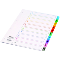 Concord Index Multicolour-tabbed Mylar-Reinforced 4 Holes 1-10 A4 White Ref CS4