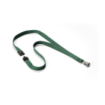 Durable Textile lanyard SOFT COLOUR dark green strap Badge holder Metal, Textile