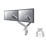 "Newstar Full Motion Dual Desk Mount (clamp & grommet) for two 10-32"" Monitor Screens, Height Adjustable (gas spring) - White"