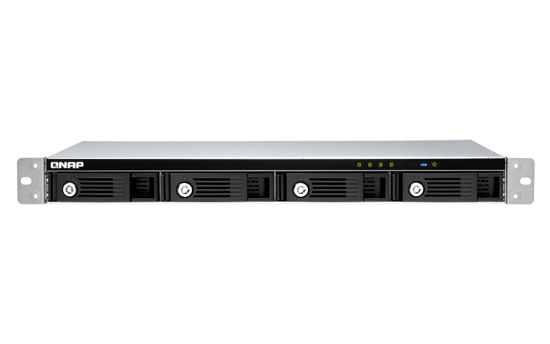 QNAP TR-004U/16TB-REDPRO disk array Rack (1U) Black, Grey