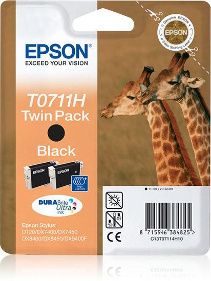 Epson Giraffe Dubbelpack Inktpatroon Black T0711H, duoverpakking T0711H DURABrite Ultra Ink