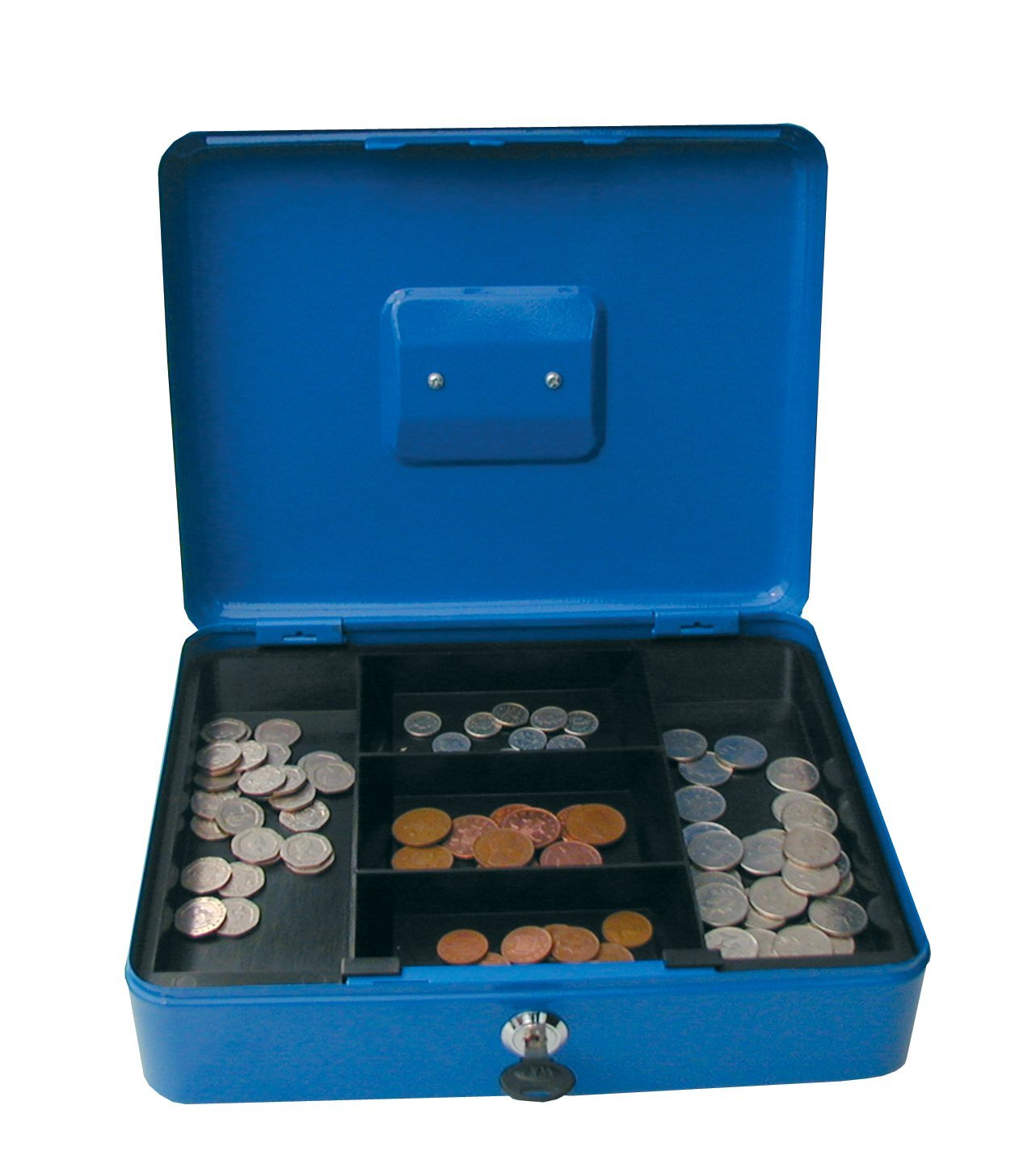 Cathedral Products Value 25cm (10 Inch) key lock Metal Cash Box Blue