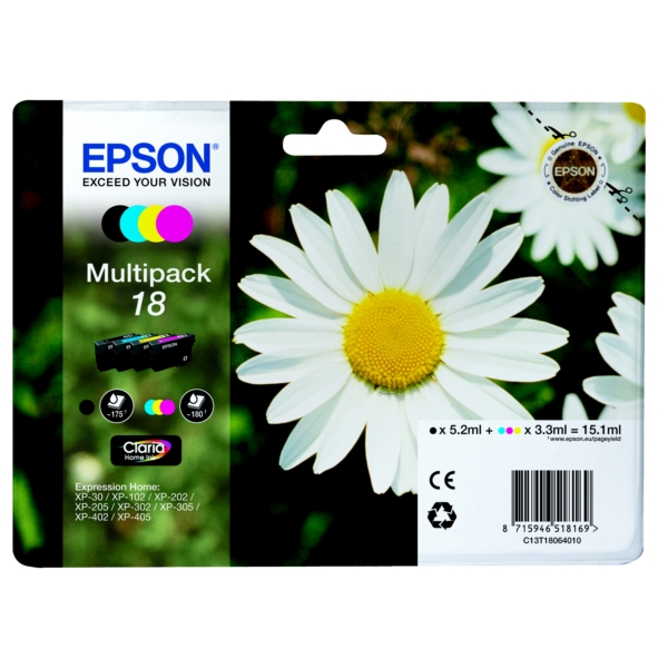 Epson C13T18064020 (18) Ink cartridge multi pack, 175pg + 3x180pg, 1x 5ml + 3x 3ml, Pack qty 4