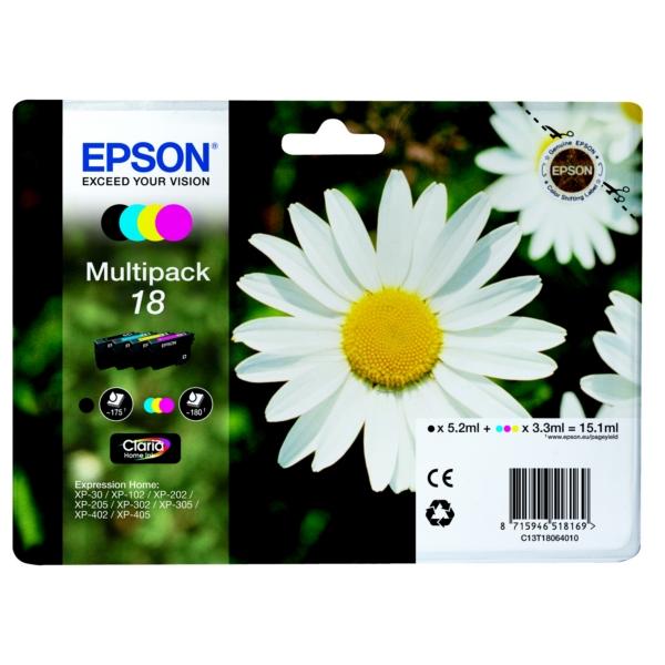 Epson C13T18064010 (18) Ink cartridge multi pack, 175pg + 3x180pg, 1x 5ml + 3x 3ml, Pack qty 4