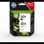HP 3JB05AE (304) Printhead cartridge multi pack, 100 pg + 120 pg, Pack qty 2