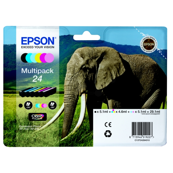 Epson C13T24284011 (24) Ink cartridge multi pack, 360 pages, 1x240pg + 5x360pg, 1x5.1ml + 5x4.6ml, Pack qty 6