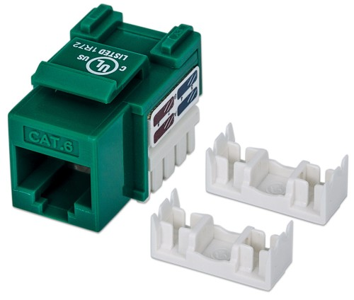 Intellinet Keystone Jack, Cat6, UTP, Punch-down, Green