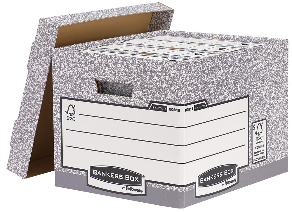 Fellowes Bankers Box System Heavy Duty Storage Box Grey PK10
