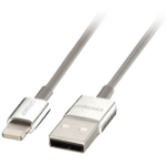 Lindy 41575 1m USB A Lightning Chrome mobile phone cable