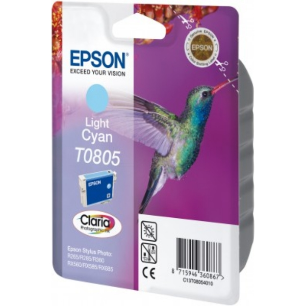 Epson C13T08054011 (T0805) Ink cartridge bright cyan, 330 pages, 7ml