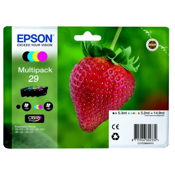 Epson C13T29864010 (29) Ink cartridge multi pack, 5,3ml + 3x3,2ml, Pack qty 4