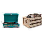 Crosley Cruiser Deluxe Portable Turntable - Teal + Free Record Storage Crate