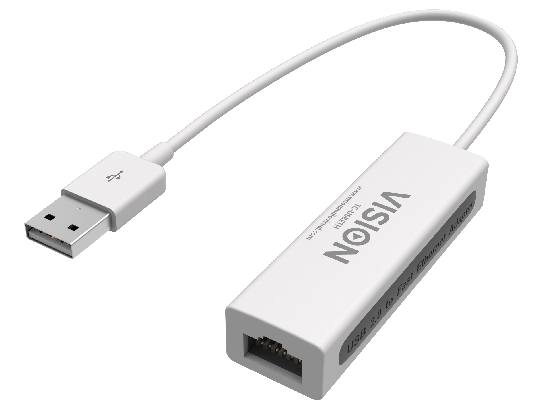 Vision TECHCONNECT USB ETHERNET ADAPTOR Engineered connectivity solution, white chassis, USB 2.0 to Etherne