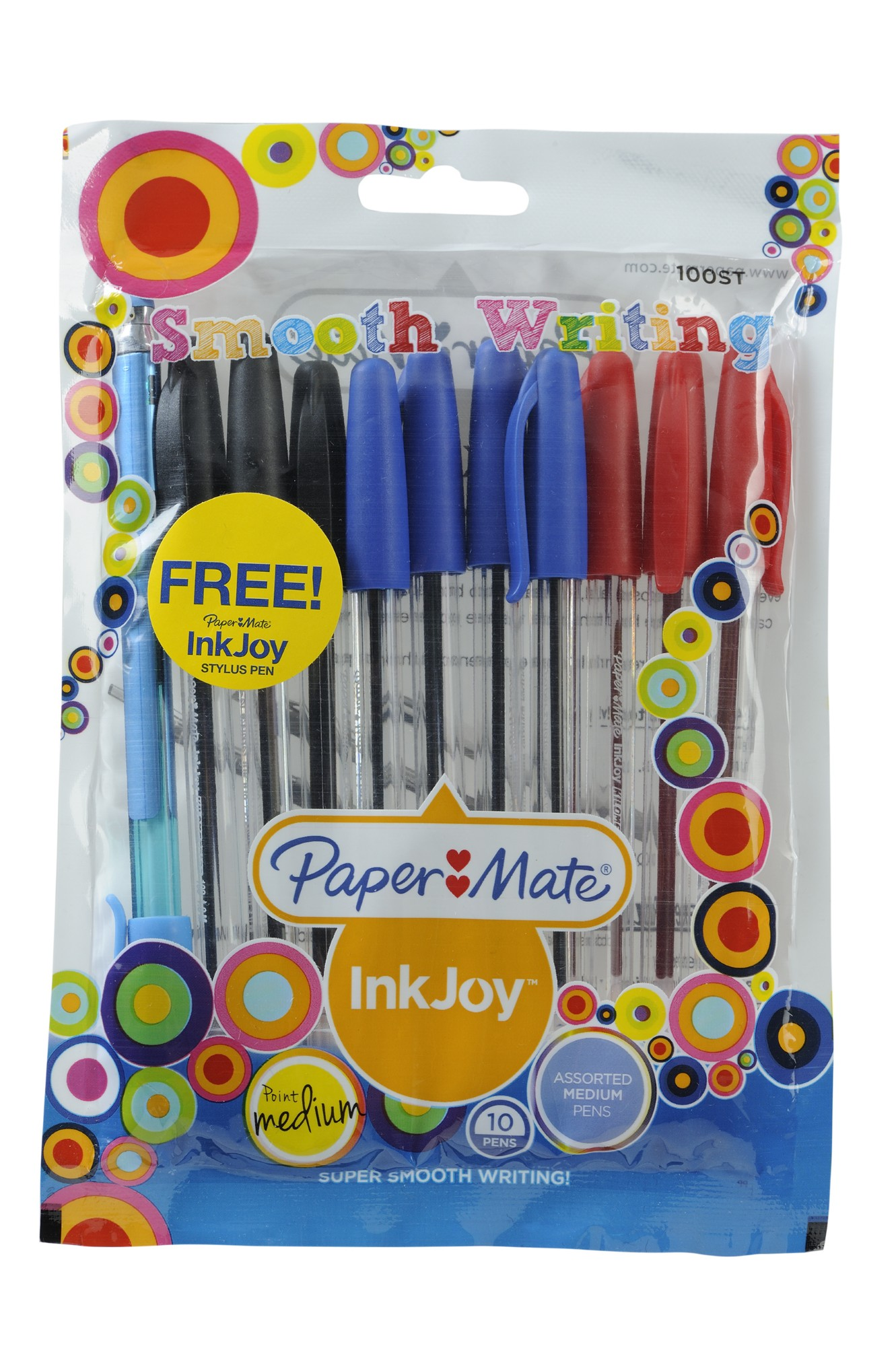 INKJOY PEN PAPERMATE INKJOY 100ST ASSORTED BUSINESS COLOURS PK10 WITH BONUS STYLUS(BX12)