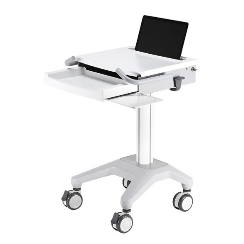 Newstar Medical Mobile Stand for Laptop, keyboard & mouse, Height Adjustable - White