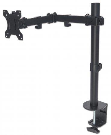 "Manhattan Monitor Desk Mount (clamp), 1 screen, 10-27"", Vesa 75x75 to 100x100mm, 3 pivots, Height 0-40cm, Max 8kg, Black"