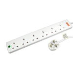 Cables Direct RB-05M06SPD surge protector White 6 AC outlet(s) 220-240 V 5 m