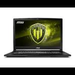 "MSI Workstation WE63 8SJ-629 Mobile workstation Black 39.6 cm (15.6"") 1920 x 1080 pixels 8th gen Intel® Core™ i7 16 GB DDR4-SDRAM 1256 GB HDD+SSD NVIDIA® Quadro® P2000 Wi-Fi 5 (802.11ac) Windows 10 Pro"