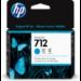 HP 712 Original Cian 1 pieza(s) Rendimiento estándar