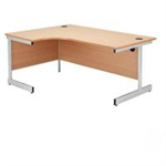 Jemini Maple/Silver 1600mm Left Hand Radial Cantilever Desk KF838047