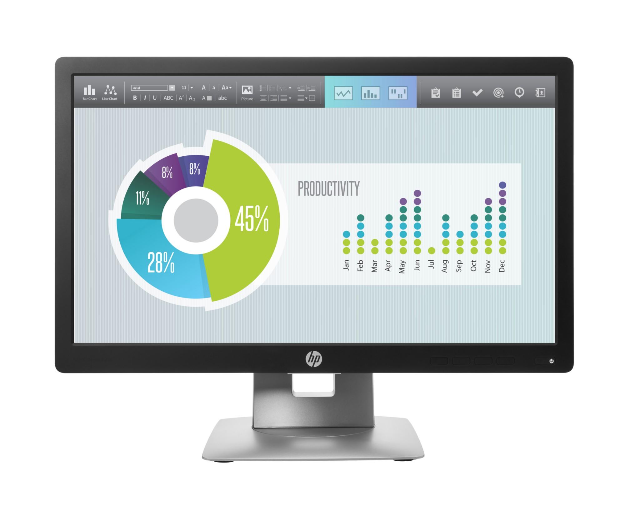 "HP EliteDisplay E202 computer monitor 50.8 cm (20"") 1600 x 900 pixels HD+ LED Flat Black,Silver"