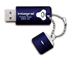 Integral 4GB Crypto Dual FIPS 197 4GB USB 2.0 USB Type-A connector Blue USB flash drive