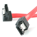 "StarTech.com 12"" latching sata cable - 1 Right Angle M/M 0.3m Rood SATA-kabel"