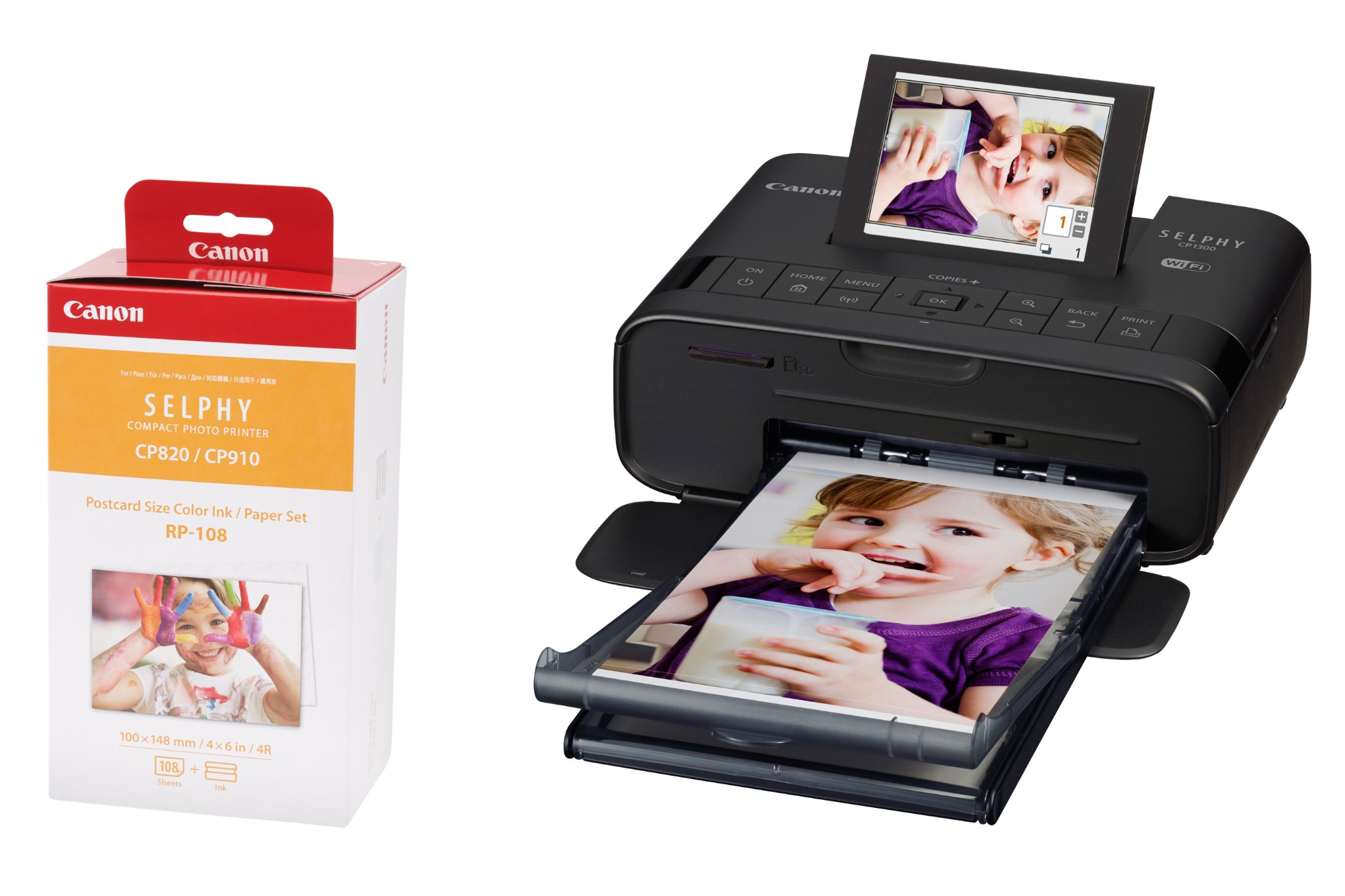 Canon SELPHY CP1300 Black Photo Printer inc RP-108 Ink Paper Set for 108x  Photos