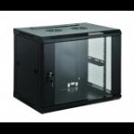"""Intellinet 19"""" Wallmount Cabinet, 6U, 370 (h) x 570 (w) x 450 (d) mm, Max 60kg, Flatpack, Black"""
