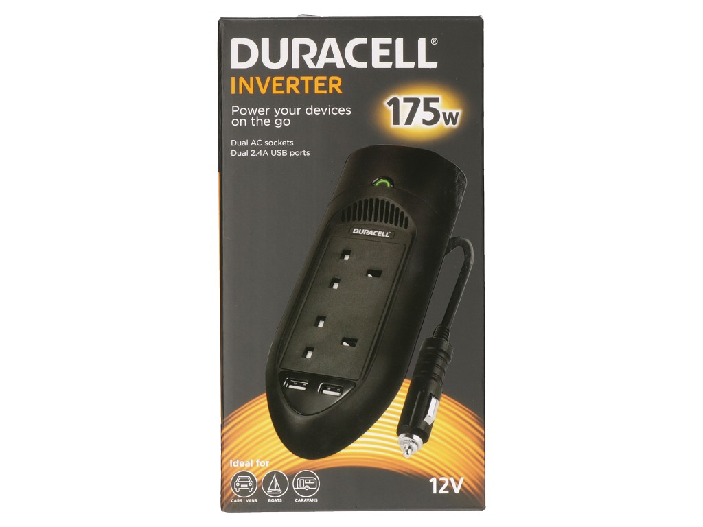 Duracell 175w Twin Uk Socket Inverter