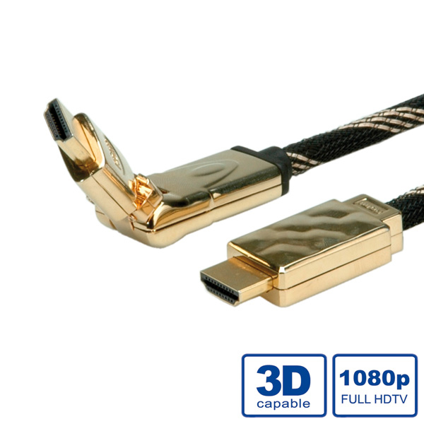 ROLINE GOLD HDMI High Speed Cable + Ethernet, 3D-Swivel 2 m HDMI cable