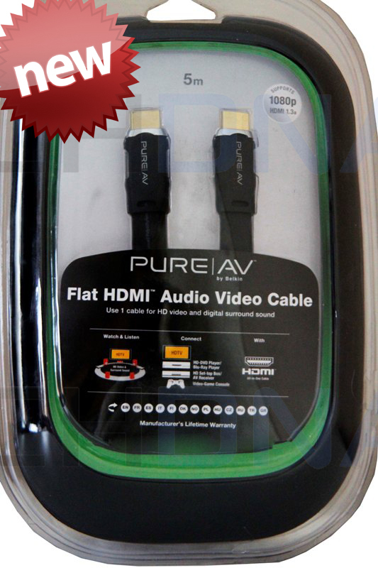 Belkin PureAV Flat HDMI Audio Video Cable - 5m AD52305