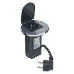 C2G Power Desk Grommet Type E Black, Metallic socket-outlet
