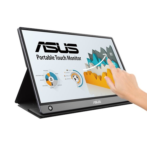 "ASUS MB16AMT touch screen monitor 39.6 cm (15.6"") 1920 x 1080 pixels Grey Multi-touch Tabletop"