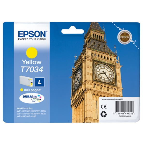 Epson C13T70344010 (T7034) Ink cartridge yellow, 800 pages, 10ml