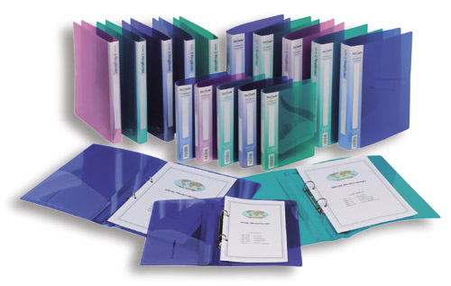 Snopake 10126 ring binder A4 Blue, Green, Rose, Turquoise, Violet